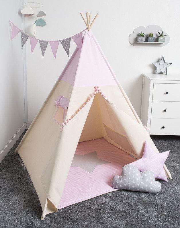 Kinderzimmerdekoration: #Tipi in Rosatönen als Rückzugsort fürs #Kinderzimmer / pastel coloured teepee made by COZYDOTS via DaWanda.com