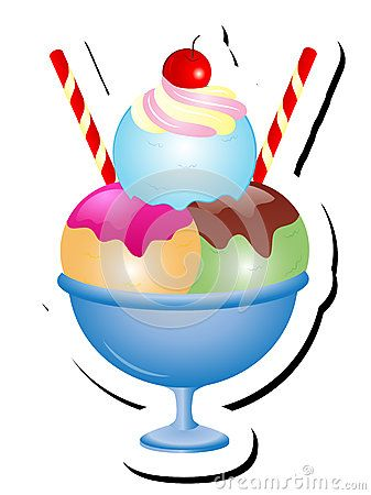 Cute Cartoon Ice Cream Sundae with three Scoops and a cherry on top Vector…