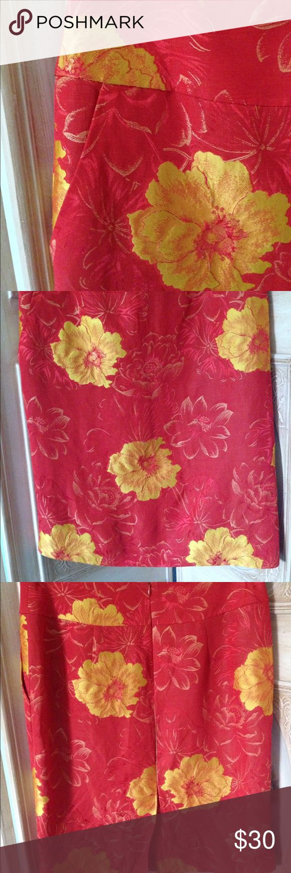 Bright orange & yellow silk lined pencil skirt. Stunning skirt. Looking for new owner who can do it justice. EUC. Talbots Skirts Pencil
