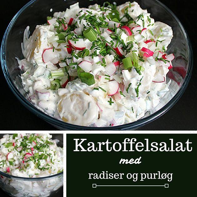 Jeg elsker kartoffelsalat, og tilføjelsen af radiser og purløg får mig kun til at elske den her endnu mere.