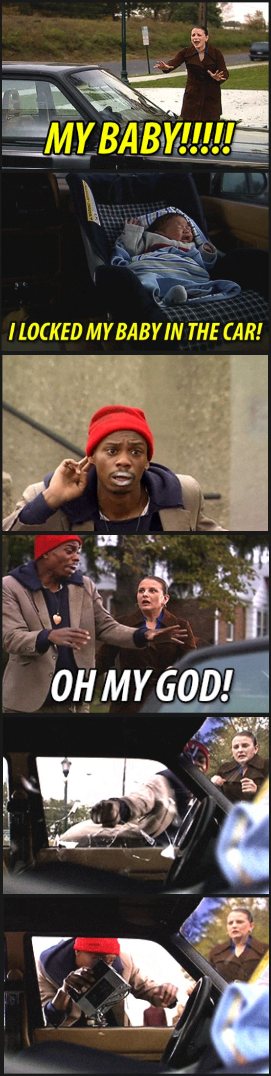 While we're on the subject of locking babies in the car, Dave Chappelle did it best.