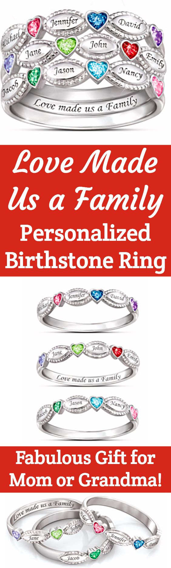 """Family birthstone ring with names - love this stacking ring for Mom!  Choose 2 or 3 stackable bands that features heart-shaped birthstones and kids' names.  The inside is inscribed, """"Love made us a family"""".  #giftsforher #giftsformom"""