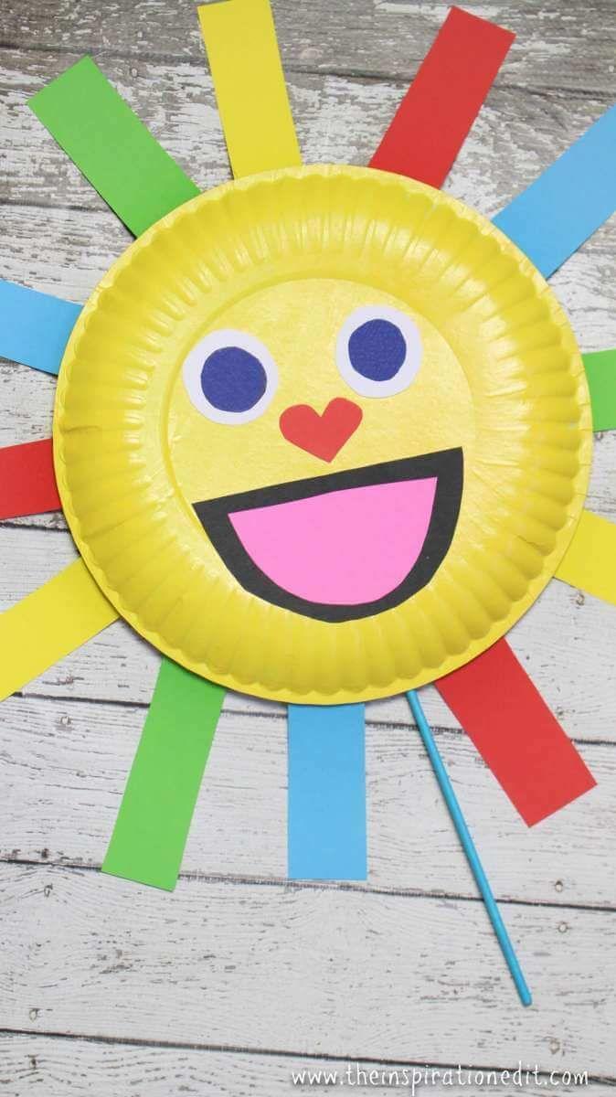 Summer Sun Paper Plate Craft Puppet Preschool Crafts And