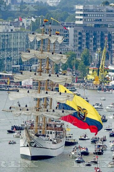 Sail Amsterdam, The Netherlands - 19 Aug 2015 Tall Ships arrive along the IJ during the Sail-In Parade for the opening of Sail Amsterdam 19 Aug 2015