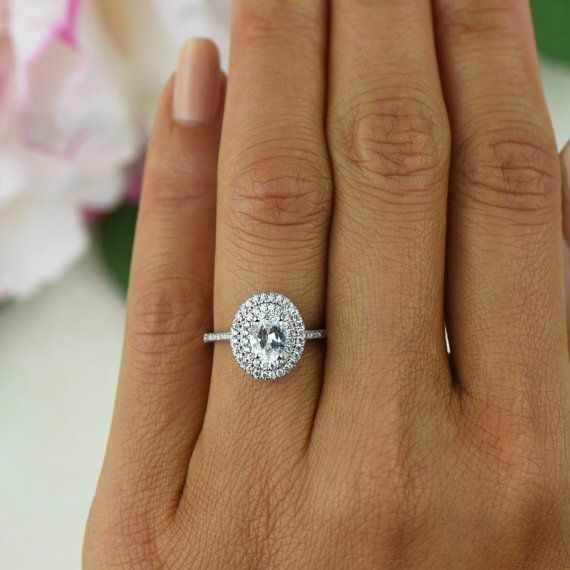 1 ctw Oval Double Halo Ring Engagement Ring 3/4 Carat