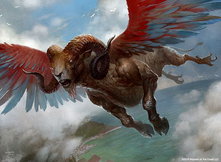 Cloudscape E621 quimera nuvem dutch_angle voadores feral cascos de alta angle_shot chifre híbrido magic_the_gathering official_art masculino open_mouth fora spread_wings céu de solo svetlin_velinov asas