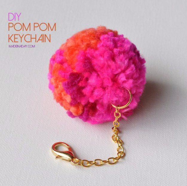 Crafts to Make and Sell - DIY Pompom Keychain - Cool and Cheap Craft Projects and DIY Ideas for Teens and Adults to Make and Sell - Fun, Cool…