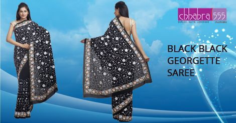 Visit Chhabra555 online store and select Black Black Georgette Saree @ $189.95 AUD in Australia. For Bulk orders at special prices write to us at customercare@chhabra555com.au or call us at 1800 289 555.