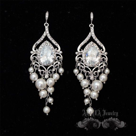Art Déco sposa Orecchini lampadario orecchini di adriajewelry