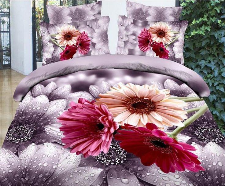 3D Daisy duvet cover set Bedding sets bedspread bed sheets bed in a bag sheet quilt doona linen Queen size full double 4PCS #Affiliate