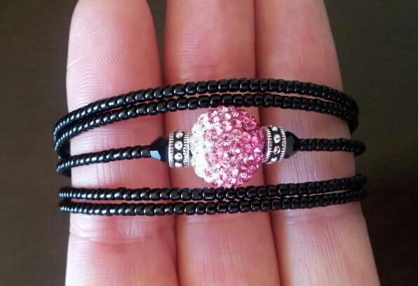 New memory wire wrap bracelet with crystal ball