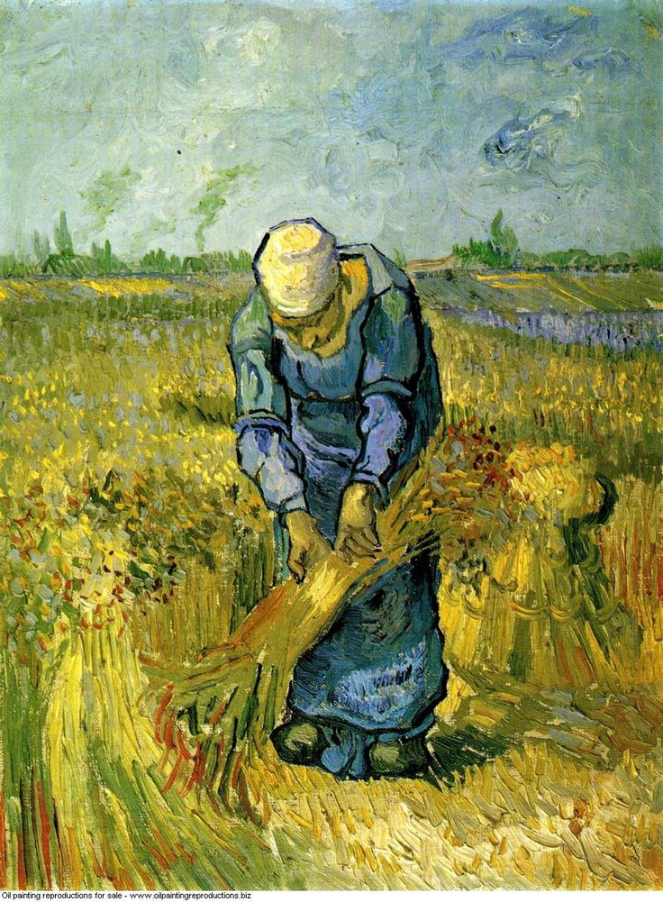 allthepainting:Vincent van Gogh » Peasant woman binding sheaves after millet 1889, oil painting reproductions