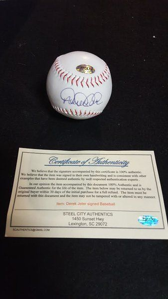 Derek Jeter Autographed and Authenticated Baseball