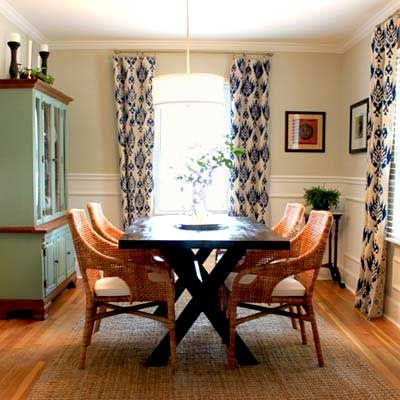 dining room budget redo after with white wainscoting, and wood and wicker furniture: traditional and natural/rustic elements side by side