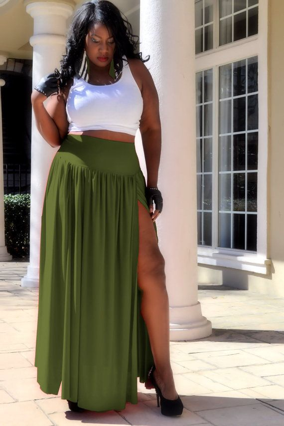 Beautiful olive maxi skirt that I am in love with-- Agree, love the color and that sexy slit, big and beautiful!