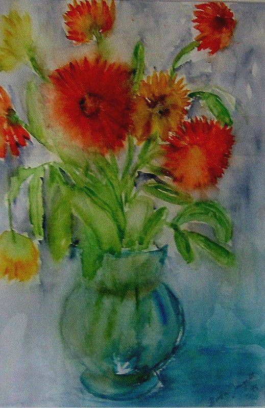 """Marigolds"" Original watercolor painting by Britta Bergström-Jungell."