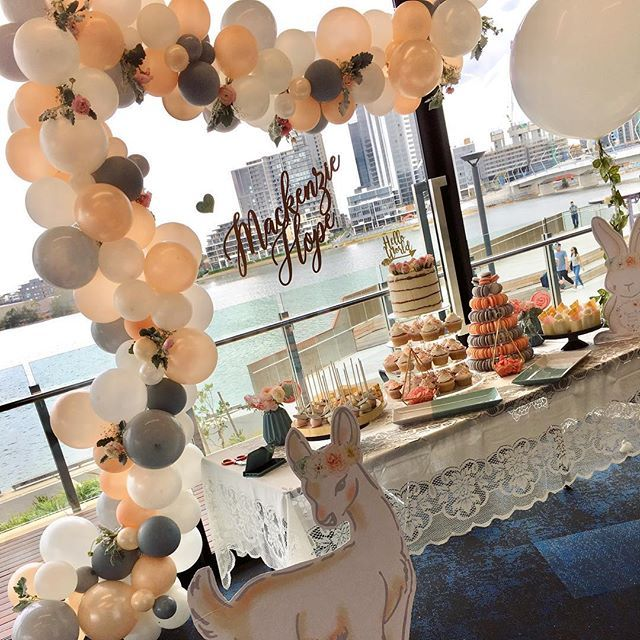 The prettiest colour combo!! Loved this adorable set up welcoming baby Mackenzie Hope, beautifully styled by her clever mama.          #pearls #peach #grey #pearlwhite #soft #pretty #welcomebaby #helloworld #newbaby #babyshower #babyshowerballoons #babyontheway #expectantmother #duesoon #excited #loved #awaiting #hellospring #bloomsandballoons #babyshowerideas #desserttable #caketable #balloondecoration #bambi #thewoods #woodland #woodlandanimals