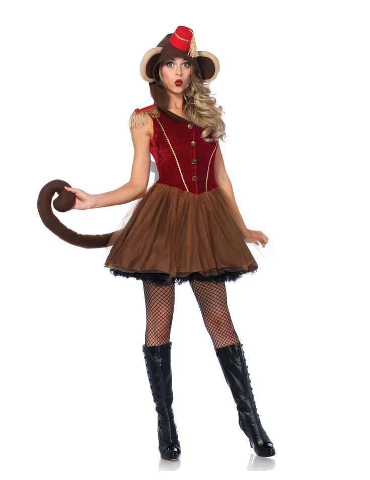 Disfraz mono mecánico de circo mujer: Este disfraz de mono mecánico para mujer incluye un vestido (botas, medias y enagua no incluidos).La parte superior del vestido es de terciopelo rojo con hombreras con flecos dorados. La falda...