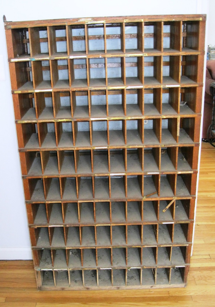 Antique Oak Post Office Box Mail Sorter Cabinet Glass Back