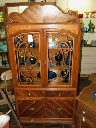Antique 1920 S Waterfall China Cabinet Dish Cupboard Gl Doors Art Deco Style Ebay