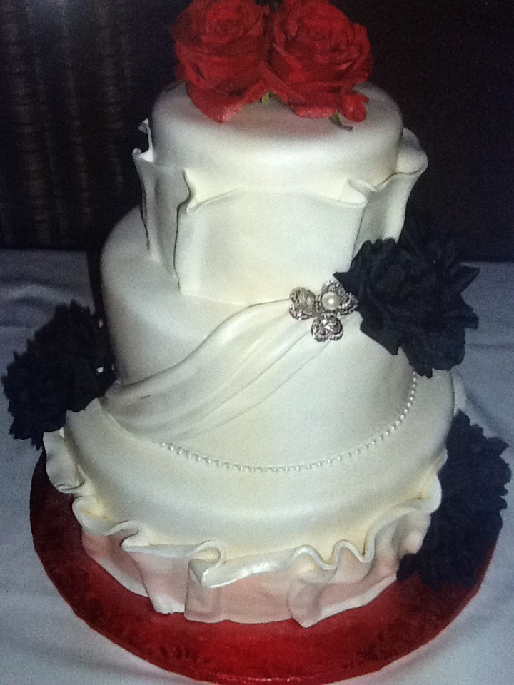 Calumet Bakery Wedding Cake With Silk Roses And Fondant Detailing
