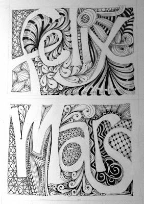 Name Design Idea For Cover.  Name Negative Space.  Zentangle Background.  Maybe only do initials and create smaller 3 x 3......