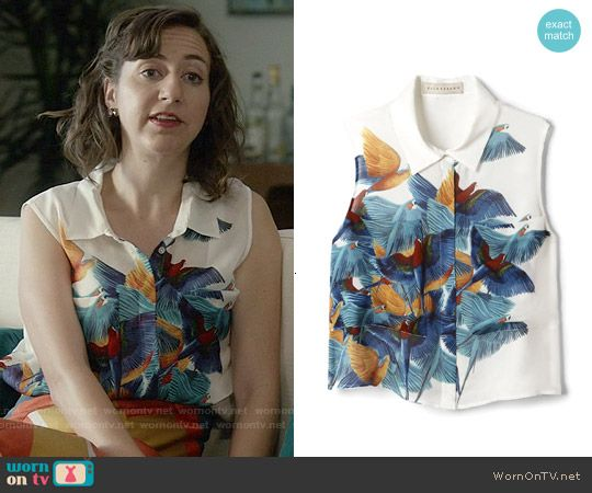 Carol's sleeveless bird print top on Last Man on Earth.  Outfit Details: http://wornontv.net/54018/ #LastManOnEarth
