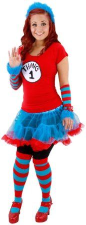 amazoncom thing 1 and thing 2 tutu adult costume smallmedium - Thing 1 Thing 2 Halloween Costume