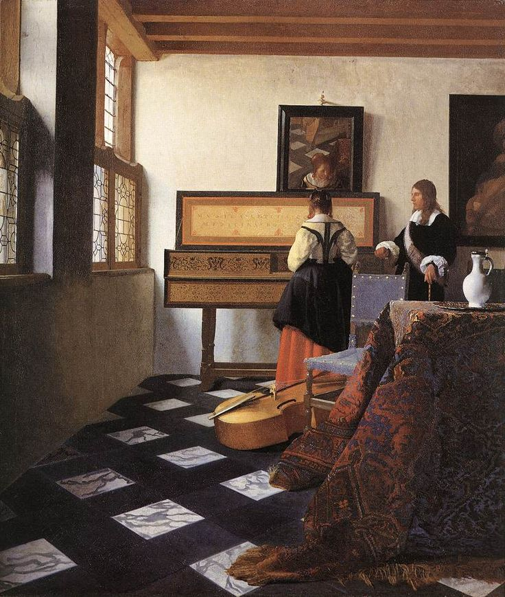 The Athenaeum - A Lady at the Virginals with a Gentleman (Johannes Vermeer - )... Owner/Location:Royal Collection Trust (UK) - Buckingham Palace  (United Kingdom - London)     Dates:1662-1665 Artist age:Approximately 33 years old.