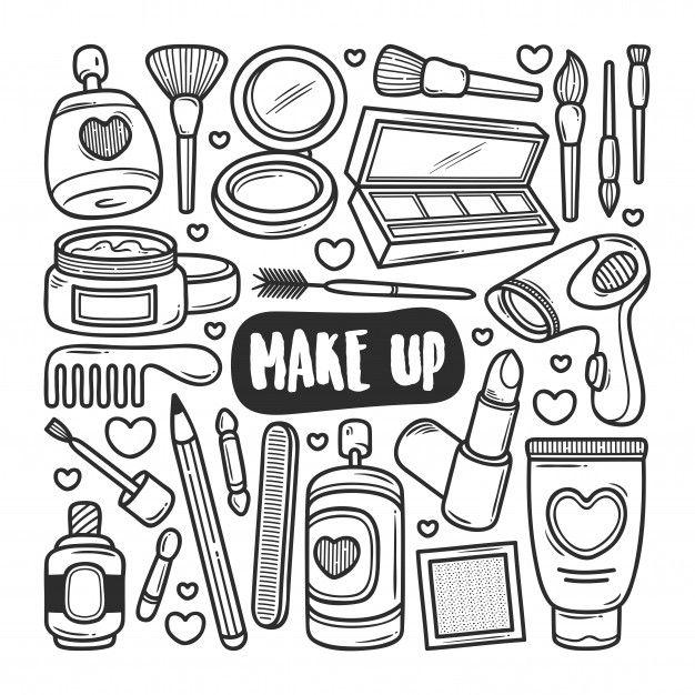 Maquillaje Iconos Dibujados A Mano Doodl Premium Vector Freepik Vector En 2020 Dibujos Tumblr Para Colorear Letras Garabateadas Garabatos Divertidos