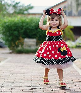 Minnie Mouse Custom Boutique Halter Dress Red Yellow and White Polka 12M to 6Y | eBay