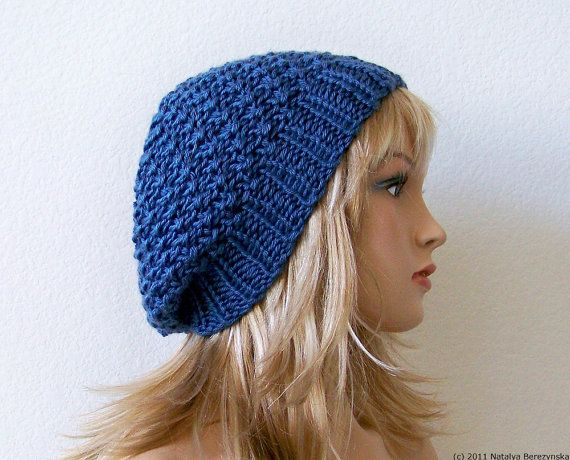 Blue Slouchy Beanie Hat Summer Hat Slouchy Hat Knit by natalya1905, $38.00