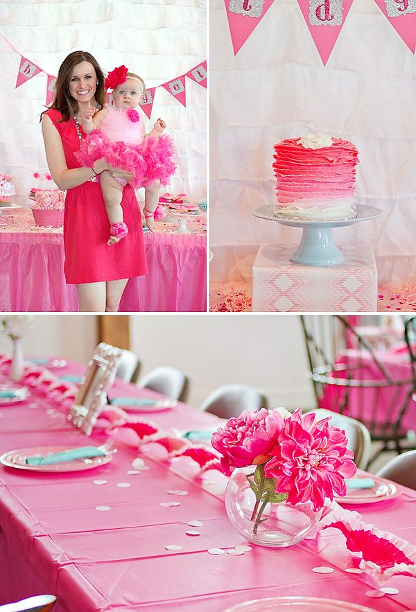 Girly & PINK Ombre First Birthday Party  Pink first birthday ...