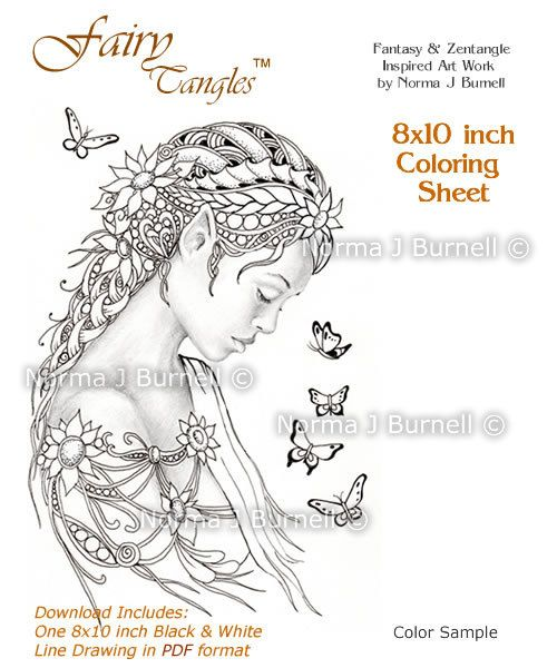 dreamer fairy and butterflies fairy tangles adult coloring sheet coloring page by norma j burnell fairies for coloring and crafting