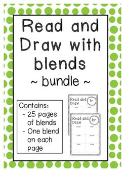 Read and Draw Bundle with Blends. 25 pages of blends from Phase 4 UK Letters and Sounds program. E.g. br, tr, cr