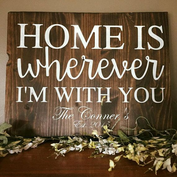 Home is Wherever I'm With You Sign Family Sign by CreateDesignLive