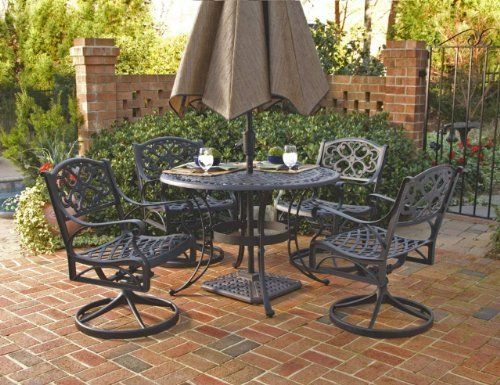Home Styles 5554-305 Biscayne 5-Piece Outdoor Dining Set, Black Finish, 42-Inch by Home Styles. $1069.29. Table measures 42-inch width by 42-inch depth by 29-inch height. Comes in a black finish. Made of cast aluminum. Set includes one round table and four swivel arm chairs. Biscayne 5-piece outdoor dining set. This biscayne 5-piece outdoor dining set is a dominating set that will draw every eye to the intricate detailed metal work. Constructed of solid, cast aluminum...