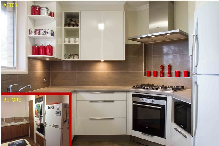 Before and after. A compact, contemporary kitchen filled with storage! www.thekitchendesigncentre.com.au @thekitchen_designcentre
