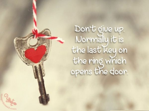 Don't give up. Normally it is the last key on the ring which opens the door.  #give #normally #last #key #ring #open #door #quotes  ©The Gecko Said - Beautiful Quotes - Thegeckosaid.com™