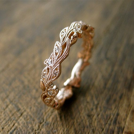 Diamond Wedding Ring in 14K Rose Gold with Diamonds in Flower Buds & Leafs with Antiquing on Vine Size 6
