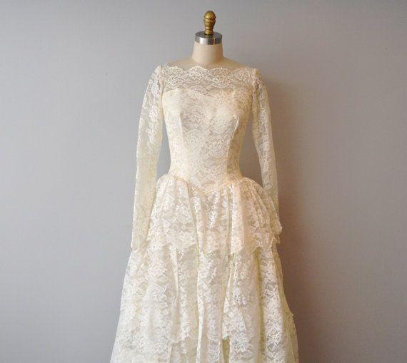 1950s vintage tier wedding ivory dress size aprox by AlicjaVintage, $175.00