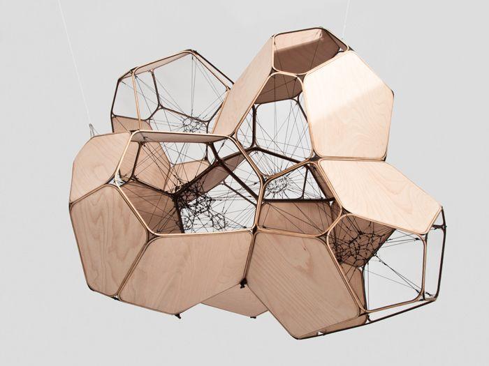 Air-Port-City/Cloud-City/5 Cloud Modules 60 9 nets — Tomás Saraceno physical model, architecture, structure, study, wood, concept