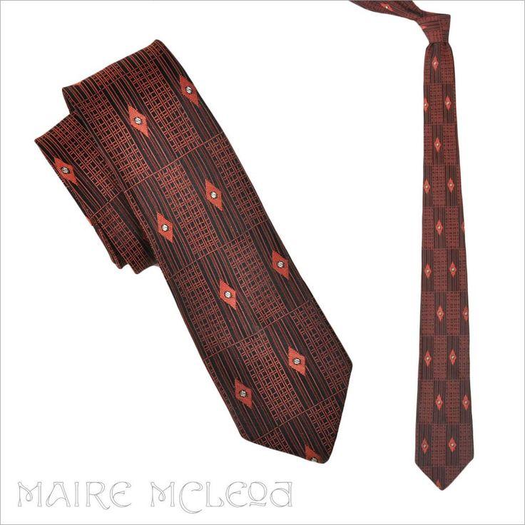 1950's Black & Coral Brocade Skinny Tie ...