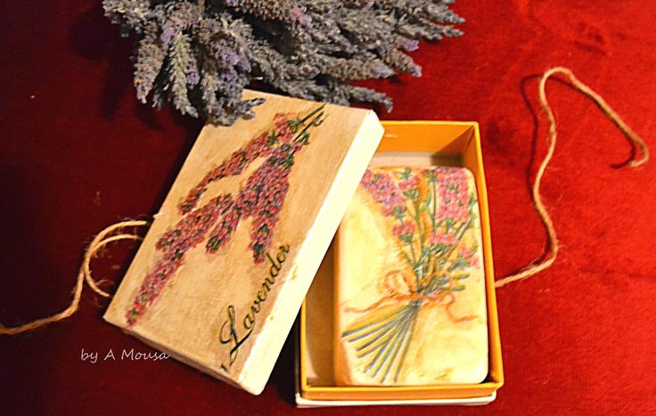 decoupage on a lavender soap and soap case with napkin,