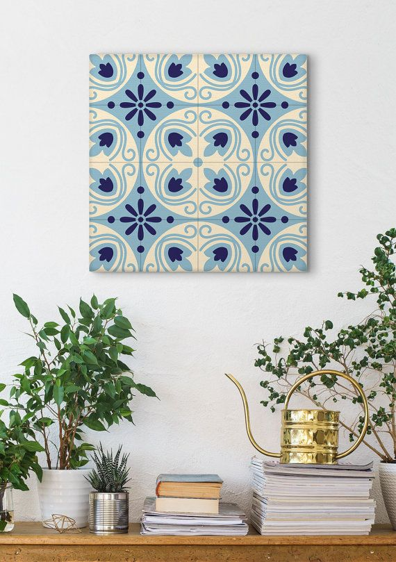 Spanish Tile Canvas Print Graphic Pattern by Macrografiks on Etsy