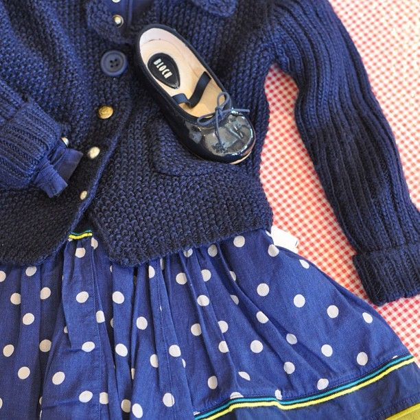 An elegant ensemble perfect for twirling on tippy toes. Navy polka dot Elaine et Lena dress with chartreuse underskirt, Elaine et Lena sweater, Bloch ballet flats.{Sold at The Children's Hour, 898 South 900 East, Salt Lake City, Utah. 801.359.4150}. #thechildrenshour