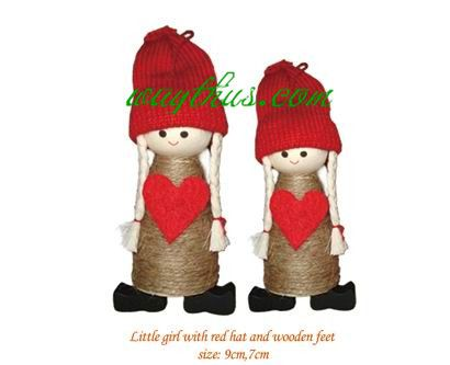 Christmas Decorations  Girl Dolls-Red Heart