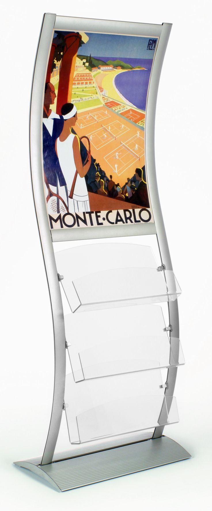 """24+x+36+Poster+Stand+for+Floor+with+(3)+3.5""""d++Acrylic+Pockets,+Curved+-+Silver"""