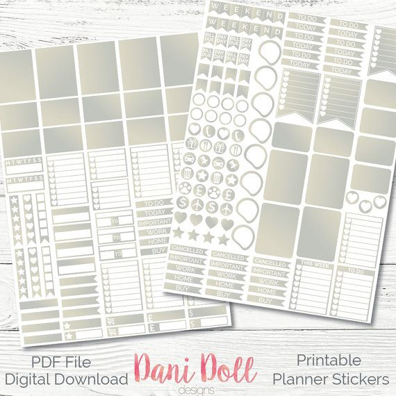Silver 2 Tone Weekly Planner Stickers Colourful 2 Sheets PDF Instant Download Erin Condren Mambi Printable Sticker Pack by danidolldesignsx