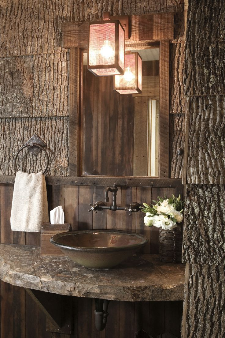 Inside homes bathrooms - Ski Slope High Log Cabin Camp Home Interior Design Truckee Ca